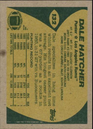 1989 Topps #132 Dale Hatcher back image