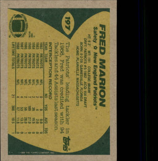 1989 Topps #197 Fred Marion back image