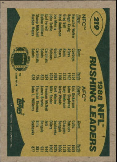 1989 Topps #219 Rushing Leaders/Herschel Walker/Eric Dickerson back image