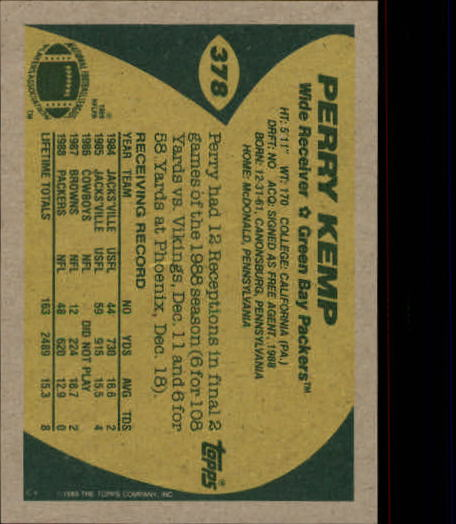 1989 Topps #378 Perry Kemp RC back image