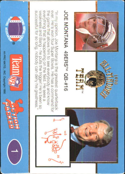 1990 Action Packed All-Madden #1 Joe Montana back image