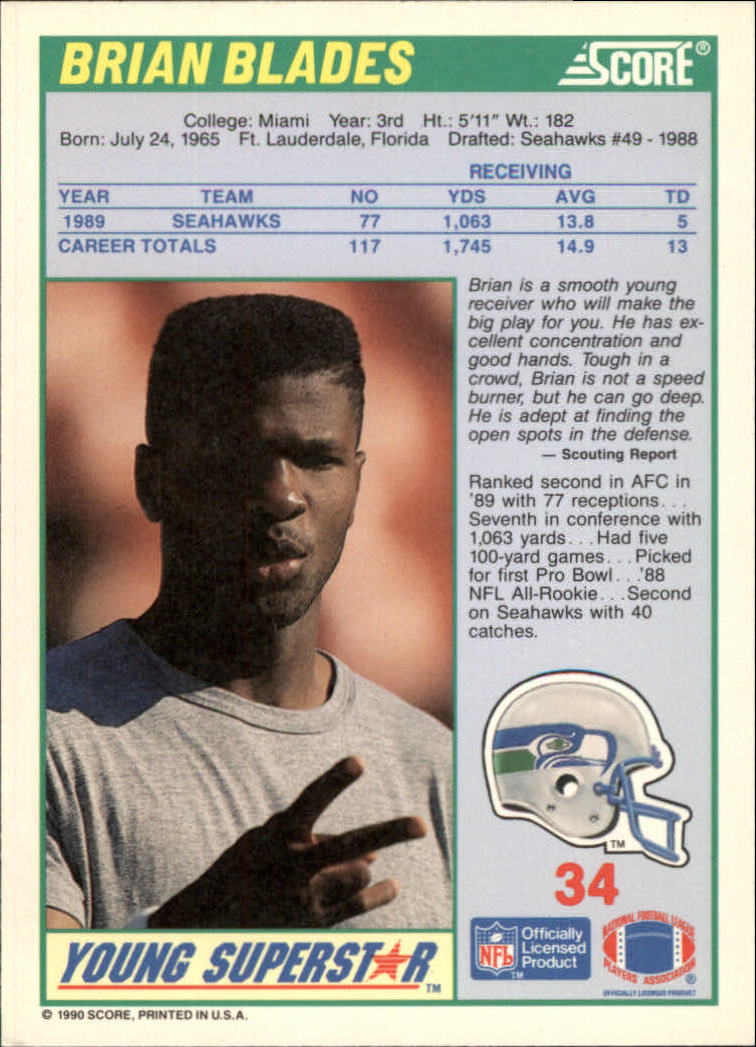 1990 Score Young Superstars #34 Brian Blades back image