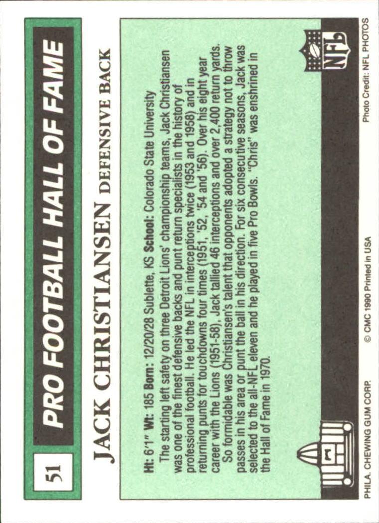 1990 Swell Greats #51 Jack Christiansen back image