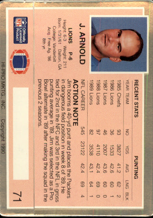 1990 Action Packed #71 Jim Arnold back image