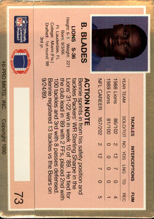 1990 Action Packed #73 Bennie Blades back image