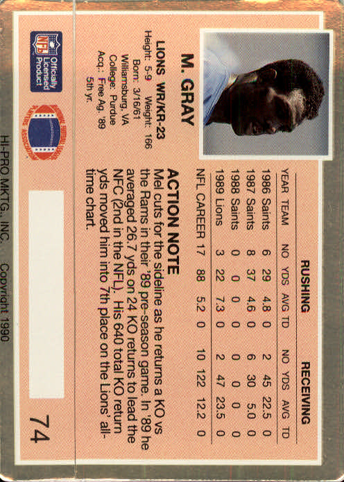 1990 Action Packed #74 Mel Gray back image