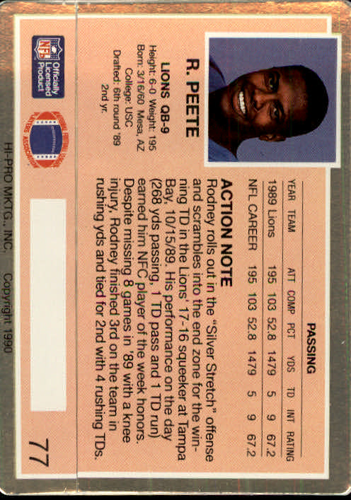1990 Action Packed #77 Rodney Peete UER back image