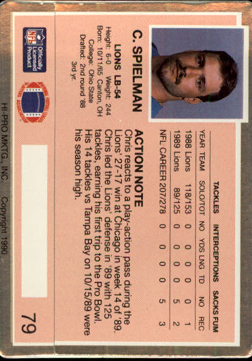 1990 Action Packed #79 Chris Spielman back image