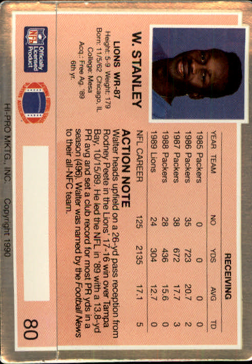 1990 Action Packed #80 Walter Stanley back image
