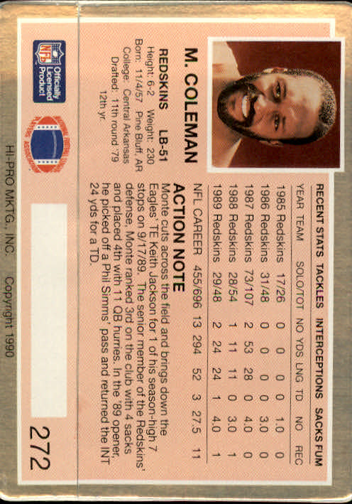 1990 Action Packed #272 Monte Coleman back image