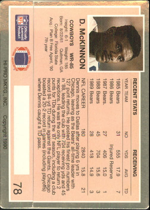 1990 Action Packed Rookie Update #78 Dennis McKinnon back image