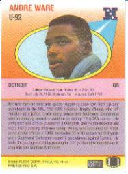 1990 Fleer Update #U92 Andre Ware back image
