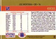 1990 Pro Set #8 Joe Montana LL UER back image