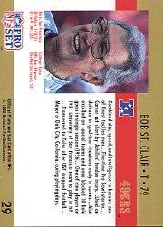 1990 Pro Set #29 Bob St.Clair HOF back image