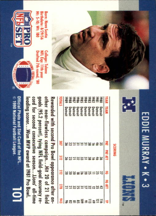 1990 Pro Set #101 Eddie Murray back image