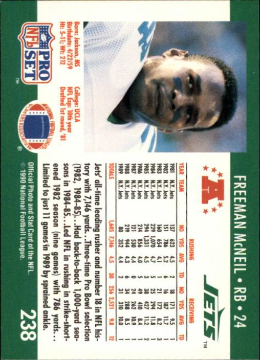 1990 Pro Set #238 Freeman McNeil back image
