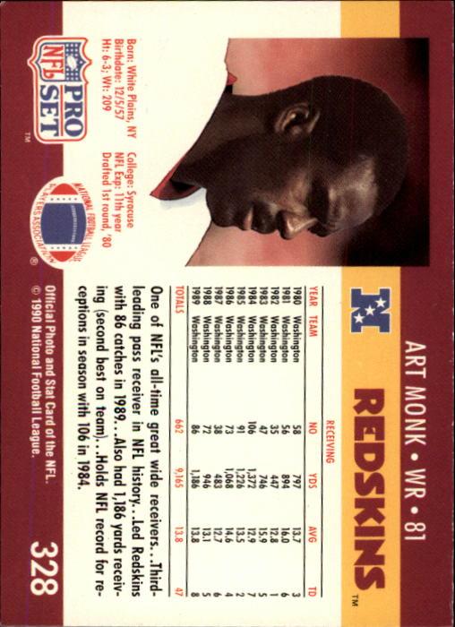 1990 Pro Set #328 Art Monk back image