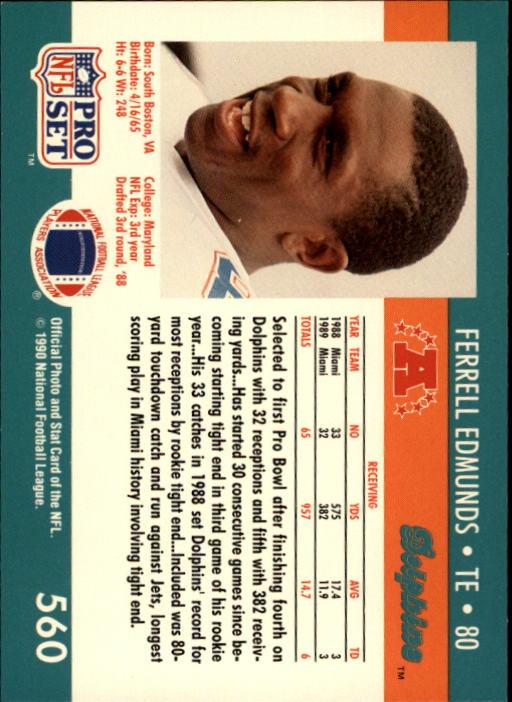 1990 Pro Set #560 Ferrell Edmunds back image