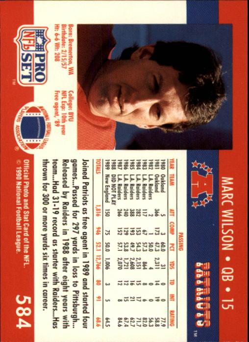 1990 Pro Set #584 Marc Wilson back image