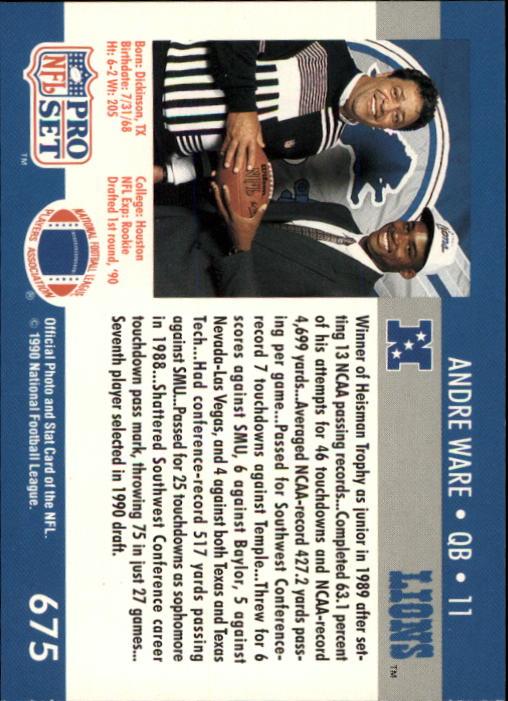 1990 Pro Set #675 Andre Ware back image