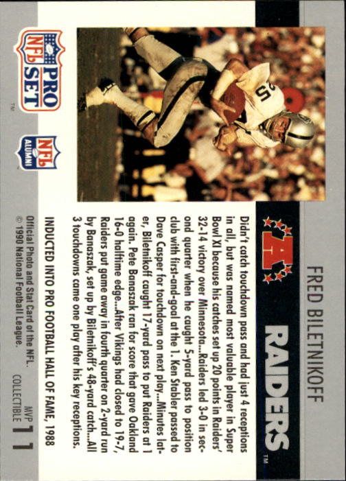 1990 Pro Set Super Bowl MVP's #11 Fred Biletnikoff back image