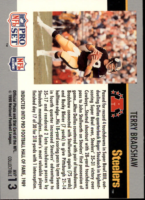 1990 Pro Set Super Bowl MVP's #13 Terry Bradshaw back image