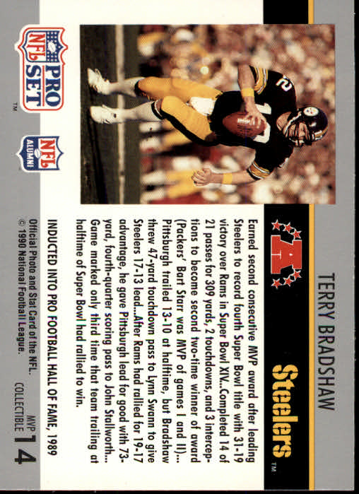 1990 Pro Set Super Bowl MVP's #14 Terry Bradshaw back image