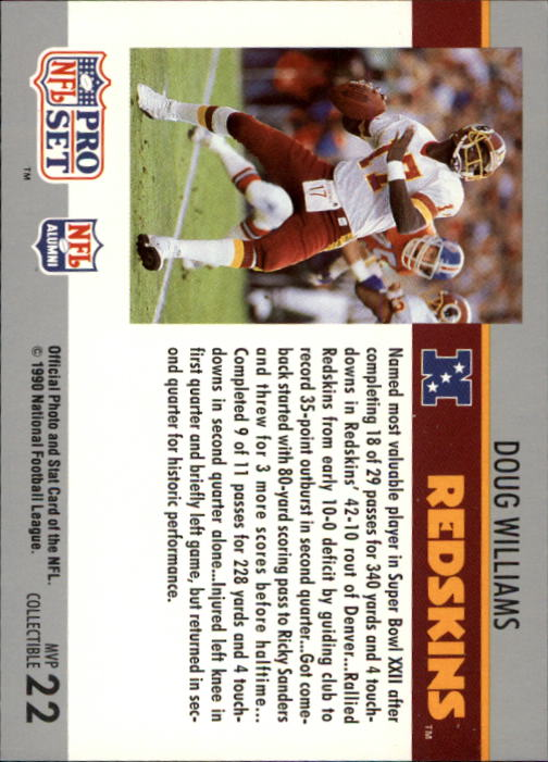 1990 Pro Set Super Bowl MVP's #22 Doug Williams back image
