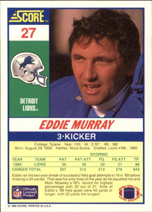 1990 Score #27 Eddie Murray back image