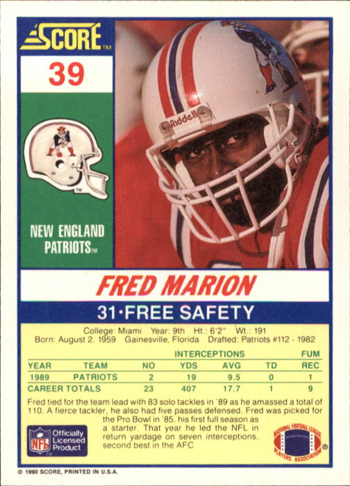 1990 Score #39 Fred Marion back image