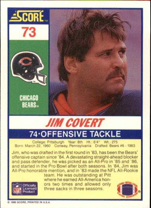 1990 Score #73 Jim Covert back image
