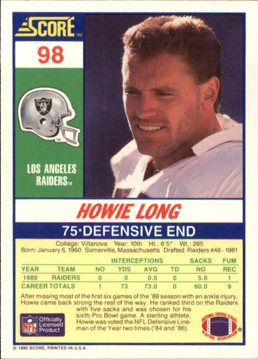 1990 Score #98 Howie Long back image