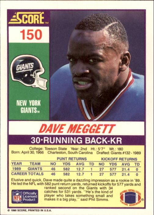 1990 Score #150 Dave Meggett back image