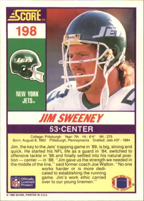 1990 Score #198 Jim Sweeney back image