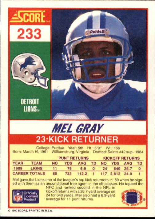 1990 Score #233 Mel Gray back image
