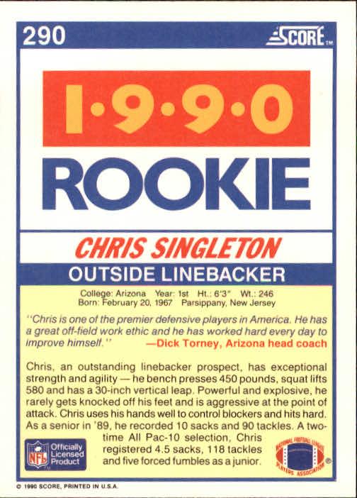 1990 Score #290 Chris Singleton RC back image