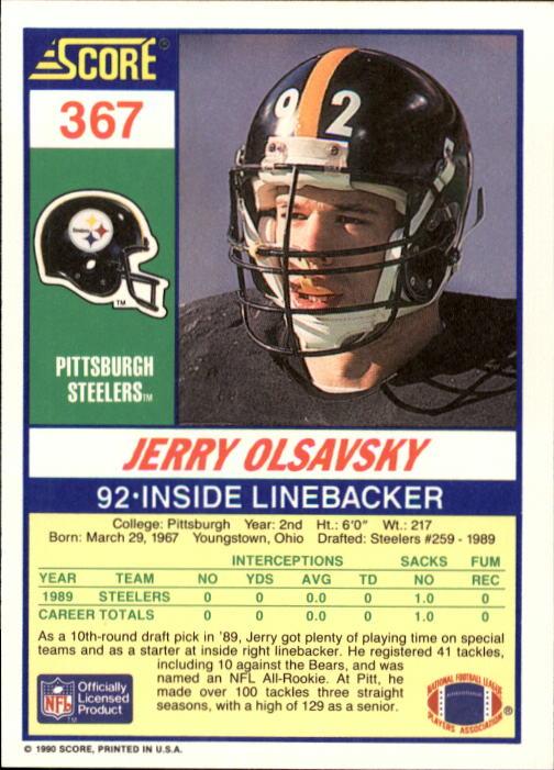 1990 Score #367 Jerry Olsavsky back image