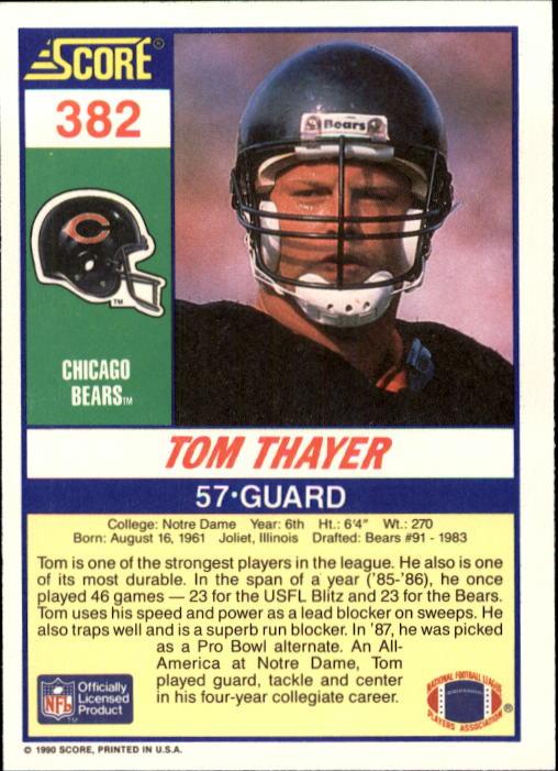 1990 Score #382 Tom Thayer RC back image
