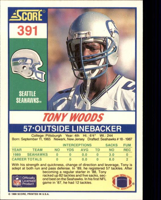 1990 Score #391 Tony Woods back image
