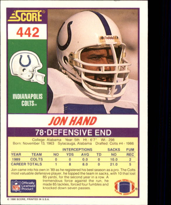 1990 Score #442 Jon Hand back image