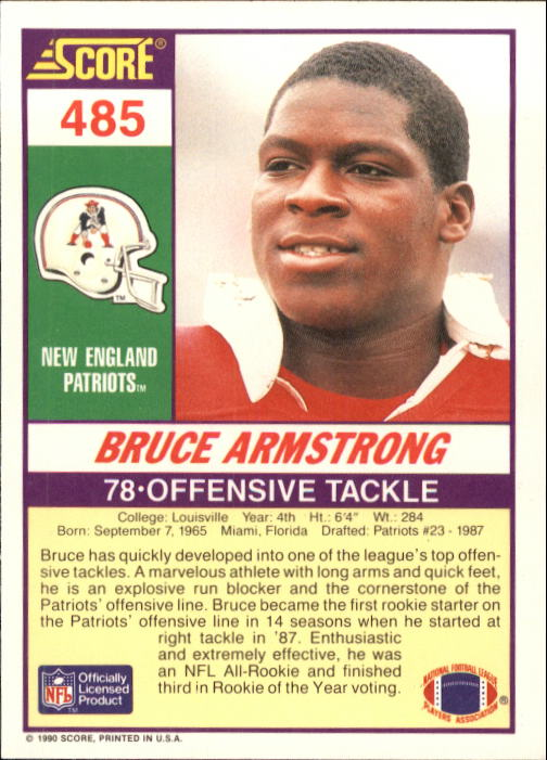 1990 Score #485 Bruce Armstrong back image