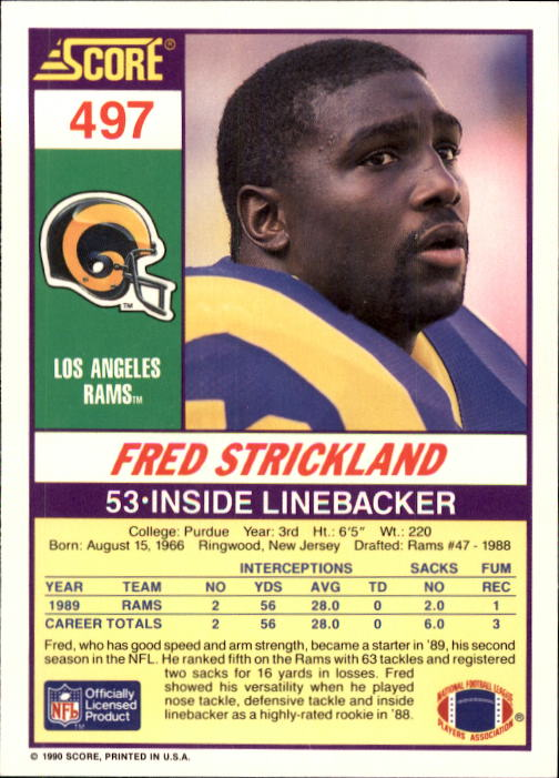 1990 Score #497 Fred Strickland RC back image