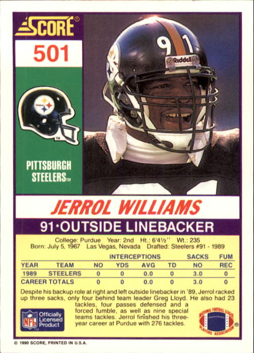 1990 Score #501 Jerrol Williams back image