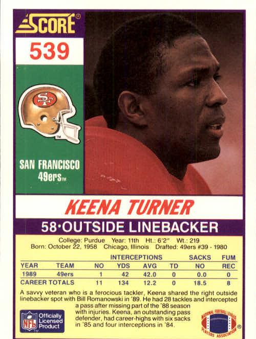 1990 Score #539 Keena Turner back image