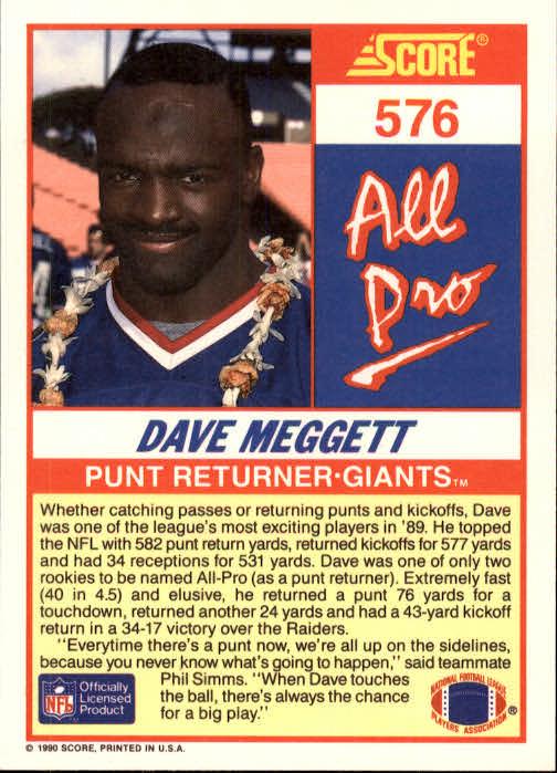 1990 Score #576 Dave Meggett AP back image