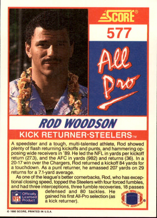 1990 Score #577 Rod Woodson AP back image
