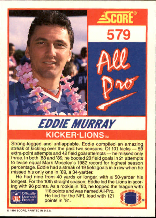 1990 Score #579 Eddie Murray AP back image