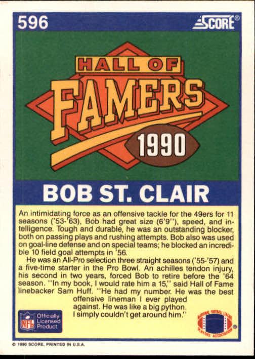 1990 Score #596 Bob St. Clair HOF back image