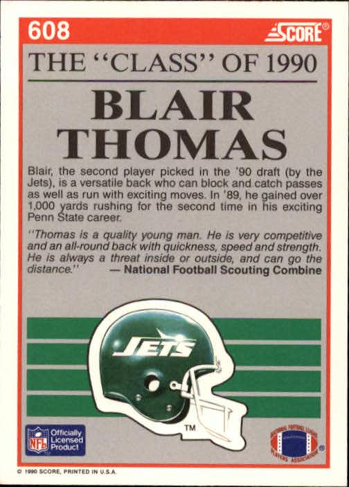 1990 Score #608 Blair Thomas C90 back image