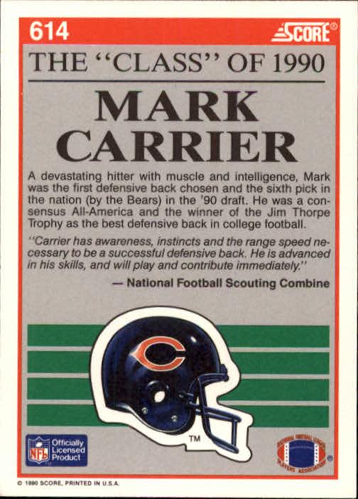 1990 Score #614 Mark Carrier DB C90 back image